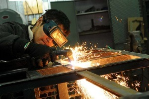 MIG welder in action