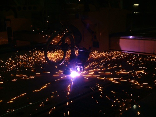 a plasma cutter in action