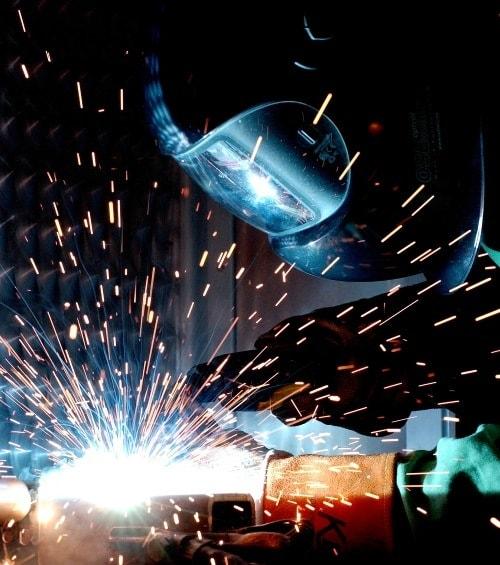 wearing a welding helmet