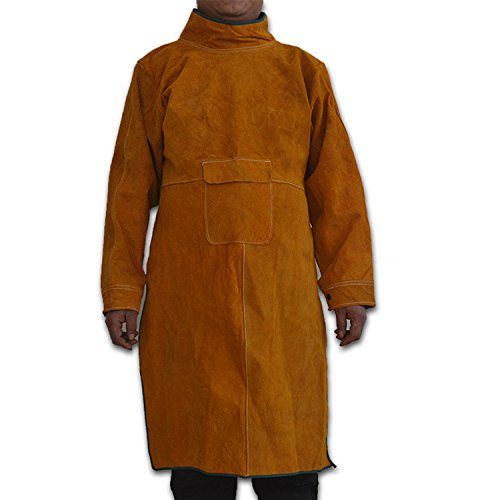 Genuine Cowhide Leather Welding Jacket, Heavy Duty Fire Resistant Welding Apron, Safety Workshop Protection Welding Cloth, Long Anti-Scald Flame Resistant Welding Coat Suit for Welder, Men, Women