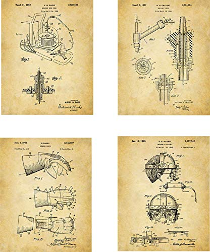 Welding Patent Wall Art Prints - set of Four (8x10) Unframed - wall art decor for Welders