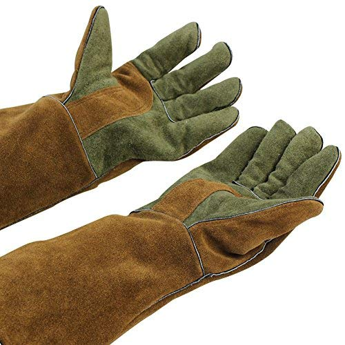 "Mig/Stick Welding Gloves, Pure Leather Heat & Fire Resistant Forge Gloves Oven Mitts, Working Protect Gloves with 16"" Extra Long Sleeves for Tig Welders/Grill/Fireplace/Stove/Garden or Animal Handling"