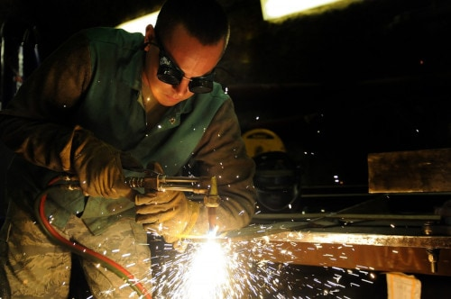 man working on welding