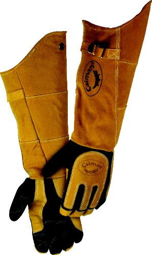 Caiman 1878-5 21-Inch One Size Fits All Genuine American Deerskin Welding Glove with Boarhide Leather Heat Shield and Cuff