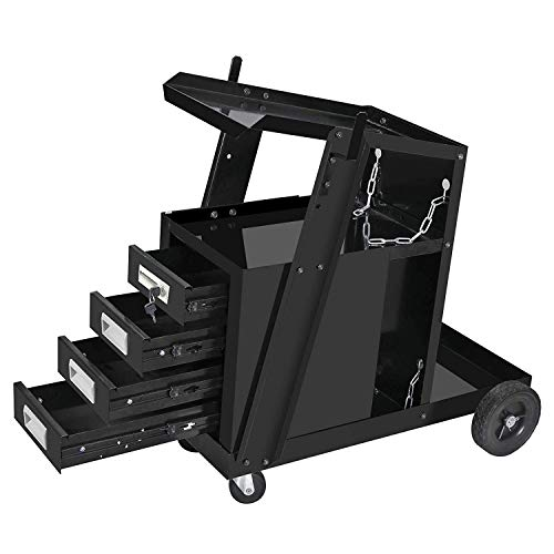 ZENY Portable Welding Welder Cart MIG TIG ARC Plasma Cutter Tank Storage Welding Cabinet 4 Drawers w/2 Safety Chains