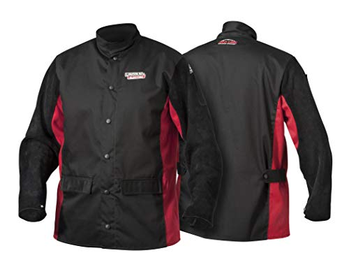 Lincoln Electric Split Leather Sleeved Welding Jacket | Premium Flame-Resistant Cotton Body | Black & Red | K2986-M