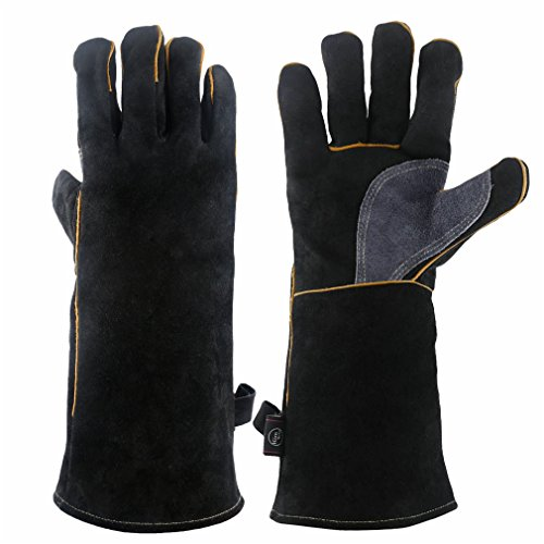 KIM YUAN Extreme Heat & Fire Resistant Gloves Leather with Kevlar Stitching, Mitts Perfect for Fireplace, Stove, Oven, Grill, Welding, BBQ, Mig, Pot Holder, Animal Handling, Black-Grey 16 inches
