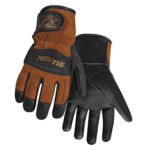Steiner 0262-L SPS Ironflex TIG Gloves, Black Premium Grain Kidskin, Brown Reversed Grain Kidskin Back, Adjustable