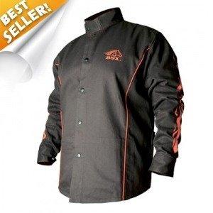 BSX BX9C Black W/ Red Flames Cotton Welding Jacket
