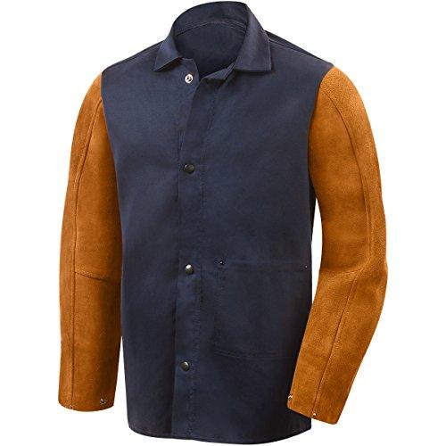 Steiner 1260-L 30-Inch Jacket, Weldlite Plus Navy Cotton, Rust Cowhide Sleeves