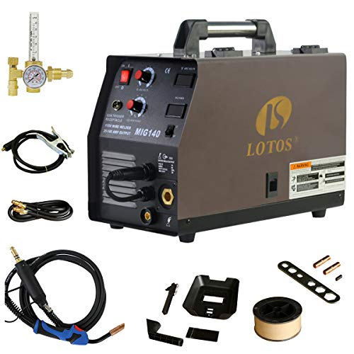 Lotos 140 Amp MIG Wire Welder, Flux Core & Aluminum Gas Shielded Welding with 2T/4T Switch Argon Regulator, Metal Wire Feeder