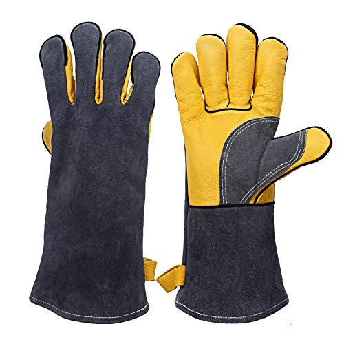 KIM YUAN Extreme Heat & Fire Resistant Gloves Leather with Kevlar Stitching, Perfect for Fireplace, Stove, Oven, Grill, Welding, BBQ, Mig, Pot Holder, Animal Handling, Grey-Yellow 14inches