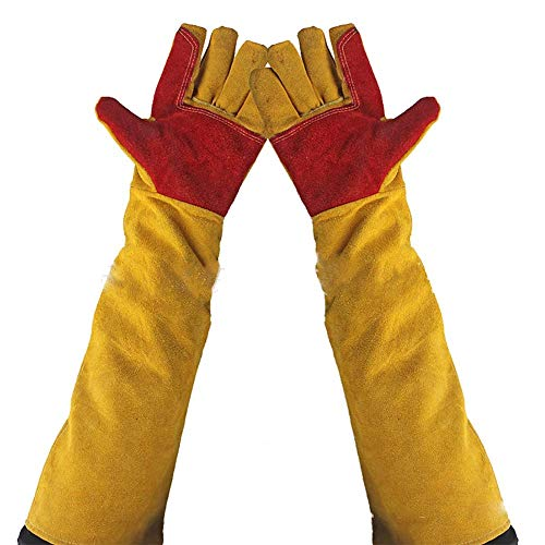 "Hersent 23.6"" Inch Long Sleeves Welding Safety Gloves, Cotton Lined And Kevlar Stitching Welders Gauntlets Wood Burners Accessories Gloves, Heat Resistant Stove Fire And Barbecue Gloves Long Length Cuffs 600m"