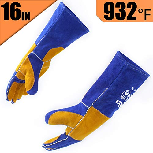 RAPICCA Leather Forge Welding Gloves Heat/Fire Resistant, Mitts for Oven/Grill/Fireplace/Furnace/Stove/Pot Holder/Tig Welder/Mig/BBQ/Animal handling glove with 16 inches Extra Long Sleeve