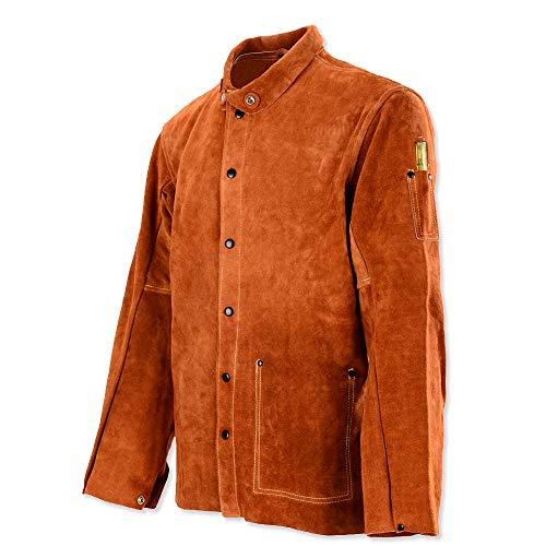 QeeLink Leather Welding Work Jacket Flame-Resistant Heavy-Duty Split Cowhide Leather