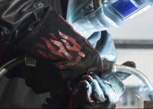 a pair of welding gloves