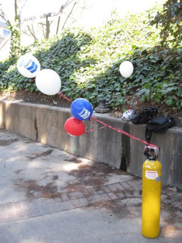 helium tank with balloons