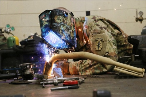 A welder in action
