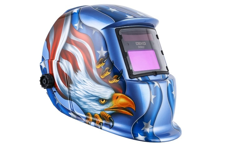 DEKOPRO Welding Helmet Solar Powered Auto Darkening Hood with Adjustable Shade Range
