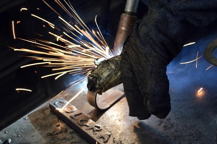 dirty welding glove