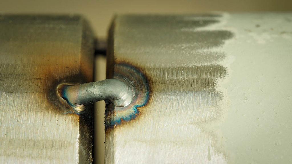 Close up Tack weld