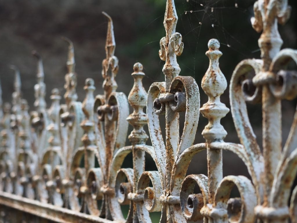 close up wrought iron fence