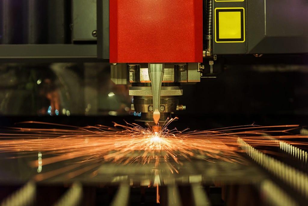 a laser welding machine in motion