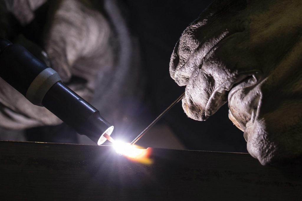 TIG welding close up